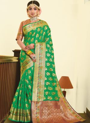 Traditional Wear Green Thread Work Awesome Saree