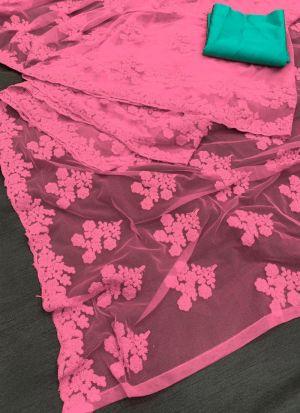 Traditional Wear Pink Net Saree