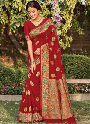 Traditional Wear Red Cotton Saree