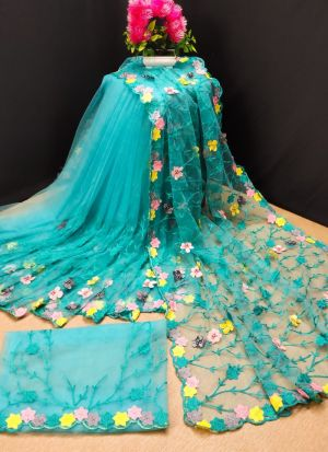 Trendy Butterfly Net Sky Blue Saree