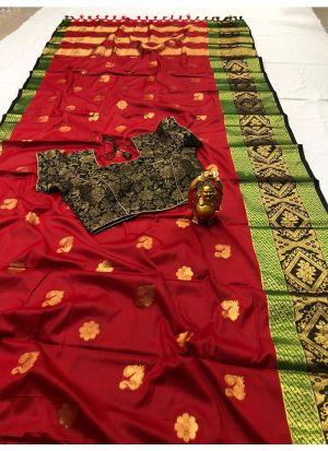 Trendy Cotton Silk Red Classic Designer Saree