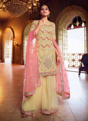 Trendy Foil Mirror Work Beige Salwar Suit