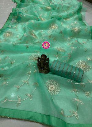 Trendy Jade Green Ribbon Work Saree
