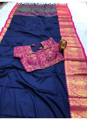 Trendy Navy Cotton Silk Classic Designer Saree