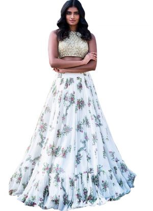Trendy White Gorgette Digital Printed Lehenga Choli