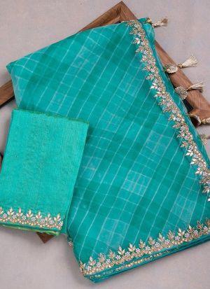 Turquoise Georgette Festive Wear Saree