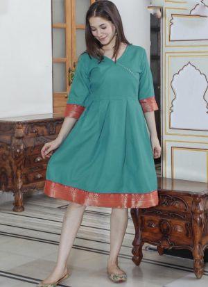 Turquoise Green Cotton Casual Wear Kurti