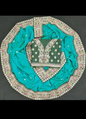 Turquoise Rangoli Georgette Silk Sequence Saree
