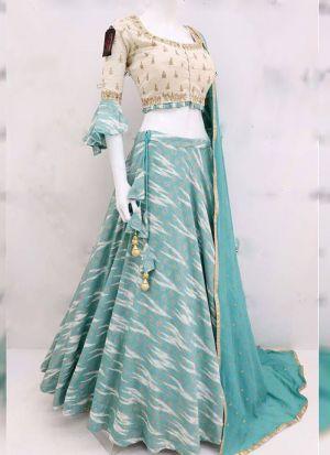 Twill Silk Elegant Look Firozi Patola Lehenga