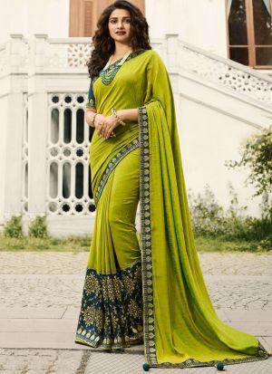 Unique Style Vichitra Silk Lime Jequard Saree