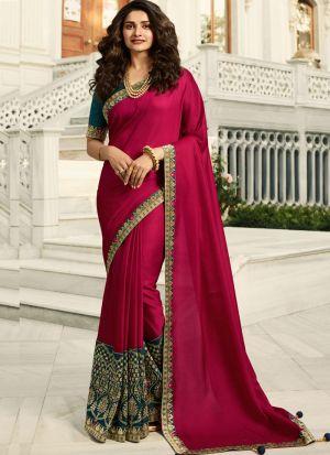 Unique Style Vichitra Silk Rose Red Jequard Saree