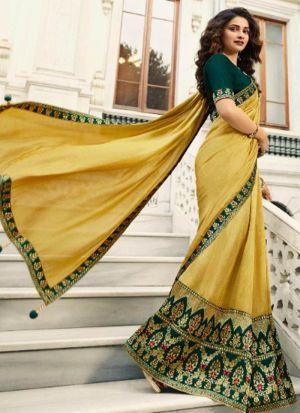 Unique Style Vichitra Silk Yellow Jequard Saree
