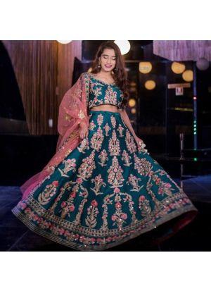 Upcoming Firozi Makhmal Silk Latest Bridal Lehenga Design