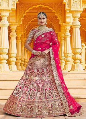 Velvet Embroidery Bridal Lehenga Choli