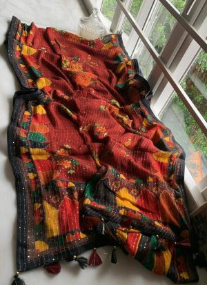 Vichitra Silk Brick Color Printed Saree