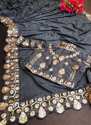 Vichitra Silk Sequence Work Grey Saree