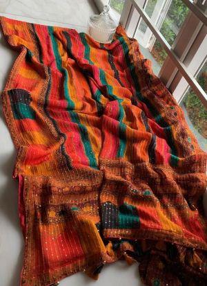 Vichitra Silk Sequence Work Saree