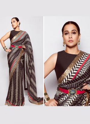 Vidya Balan Style Black Paper Silk Digital Printed Saree