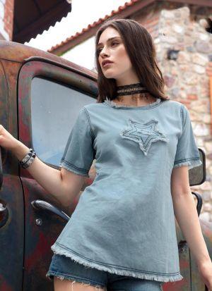 Vintage Colour Pastle Blue Denim Cotton Top