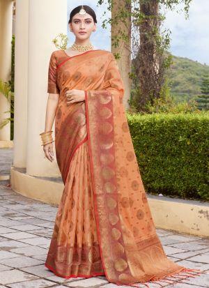 Weaving Saree In Light Orange Color