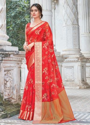 Weaving Work Coral Red Saree