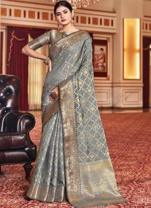 Weaving Work Grey Saree In Silk