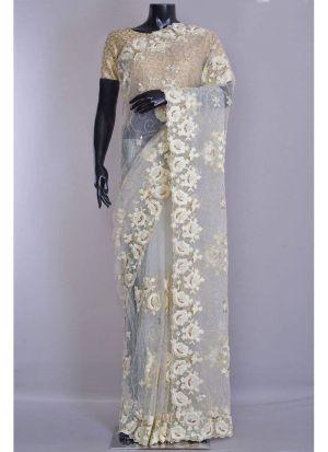 Wedding Designer Milky White Net Jal Embroidery Saree