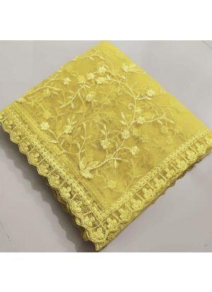 Wedding Designer Yellow Naylon Net Fancy Thread Work Saree