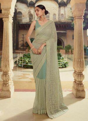 Wedding Special Light Green Thread Work Saree