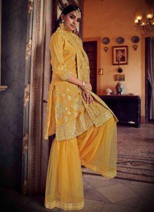 Wedding Special Musturd Yellow Organza Salwar Suit