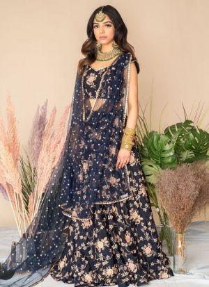 Wedding Special Navy Thread Embroidered Lehenga Choli