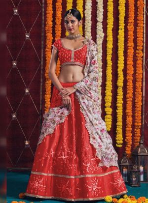 Wedding Special Red Banglory Satin Zari Embroidered Lehenga Choli
