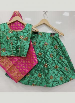 Wedding Style Lime Green Embroidery Kids Lehenga Choli