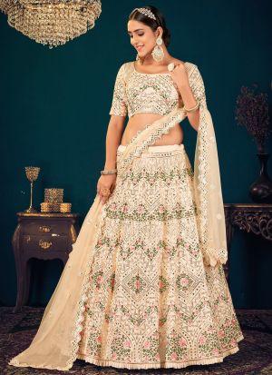 Wedding Wear Beige Lehenga Choli