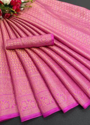 Wedding Wear Fuschia Pink Silk Saree