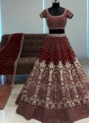 Wedding Wear Maroon Silk Lehenga Choli