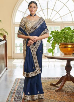 Wedding Wear Navy Blue Organza Saree