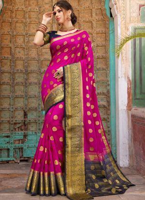 Wedding Wear Pink Naylon Silk Saree