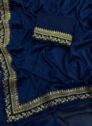 Wedding Wear Royal Blue Saree