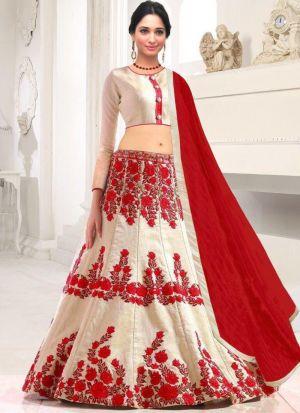 White Banglori Silk Indian Wedding Lehenga Choli With Chanderi Cotton Dupatta