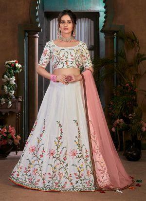 White Cotton Designer Lehenga Choli