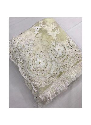 White Heavy Embroidery Moti Work Soft Net Wedding Designer Saree