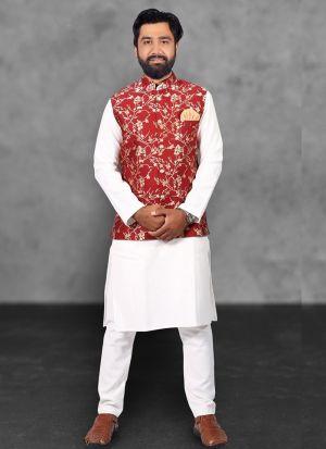 White Kurta Pajama With Red Koti