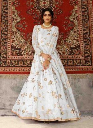 White Metallic Foil Printed Gown