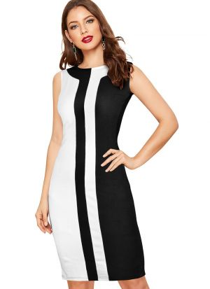 White Stripe Black Party Wear Short Dress