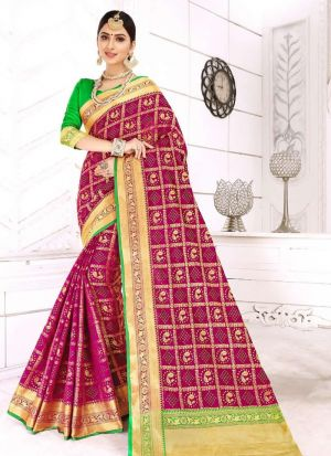 Wine Patola Silk Designer Traditional Saree Collection