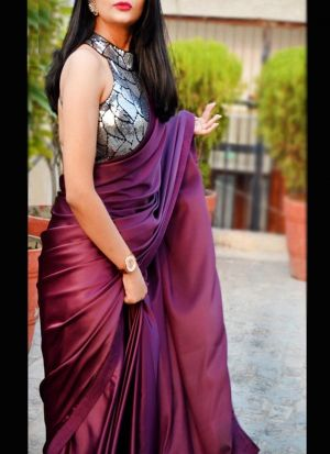 Wine Satin Saree With Fancy Blouse