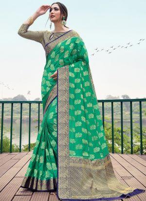 Woman Attractive Rama Naylon Silk Saree
