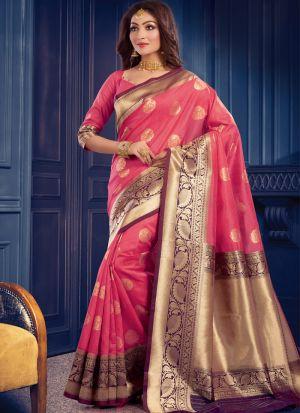 Woman Fancy Wear Pink Zari Work Saree