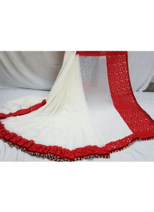 Womens Georgette Red Traditional Saree With Blouse Piece